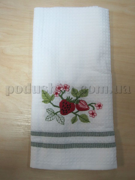 Полотенце кухонное вафельное Remzi Клубника и цветочки