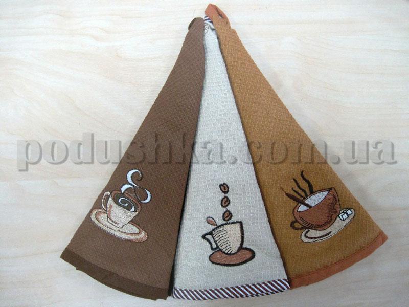 Набор круглых вафельных кухонных полотенец Hanibaba Кофе