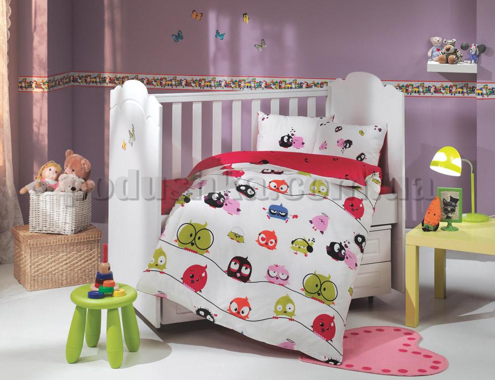 Постельное белье в кроватку Hobby Crazy birds красный