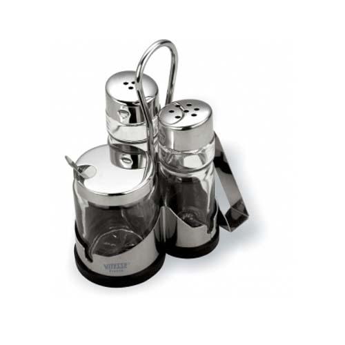 Набор для соли, перца и горчицы с держателем для салфеток  Vitesse VS-1253 (Orva)