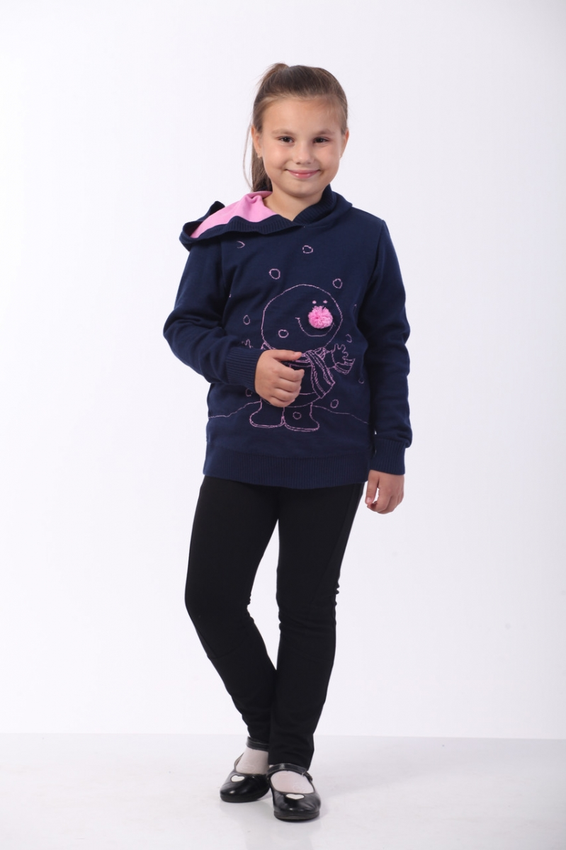 c49a293d59c Кофта с капюшоном для девочки Снеговик ОТМ Дизайн 8420 синяя купить ...