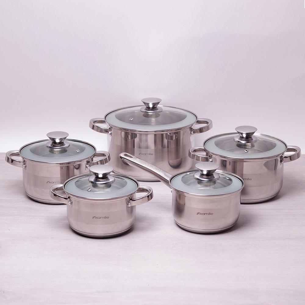Набор посуды Kamille 10 предметов из нержавеющей стали 4506S