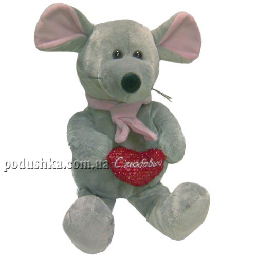 Мягкая игрушка МЫШКА (с сердцем, в галстуке, 24 см)