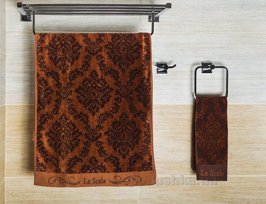 Полотенце велюровое La Scala CJP коричневое 70х140 см  La Scala