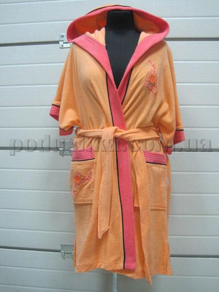 Халат женский махровый короткий с капюшоном  Nusa NS-002