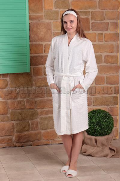 Халат женский трикотажный MELISA белый с длинным рукавом