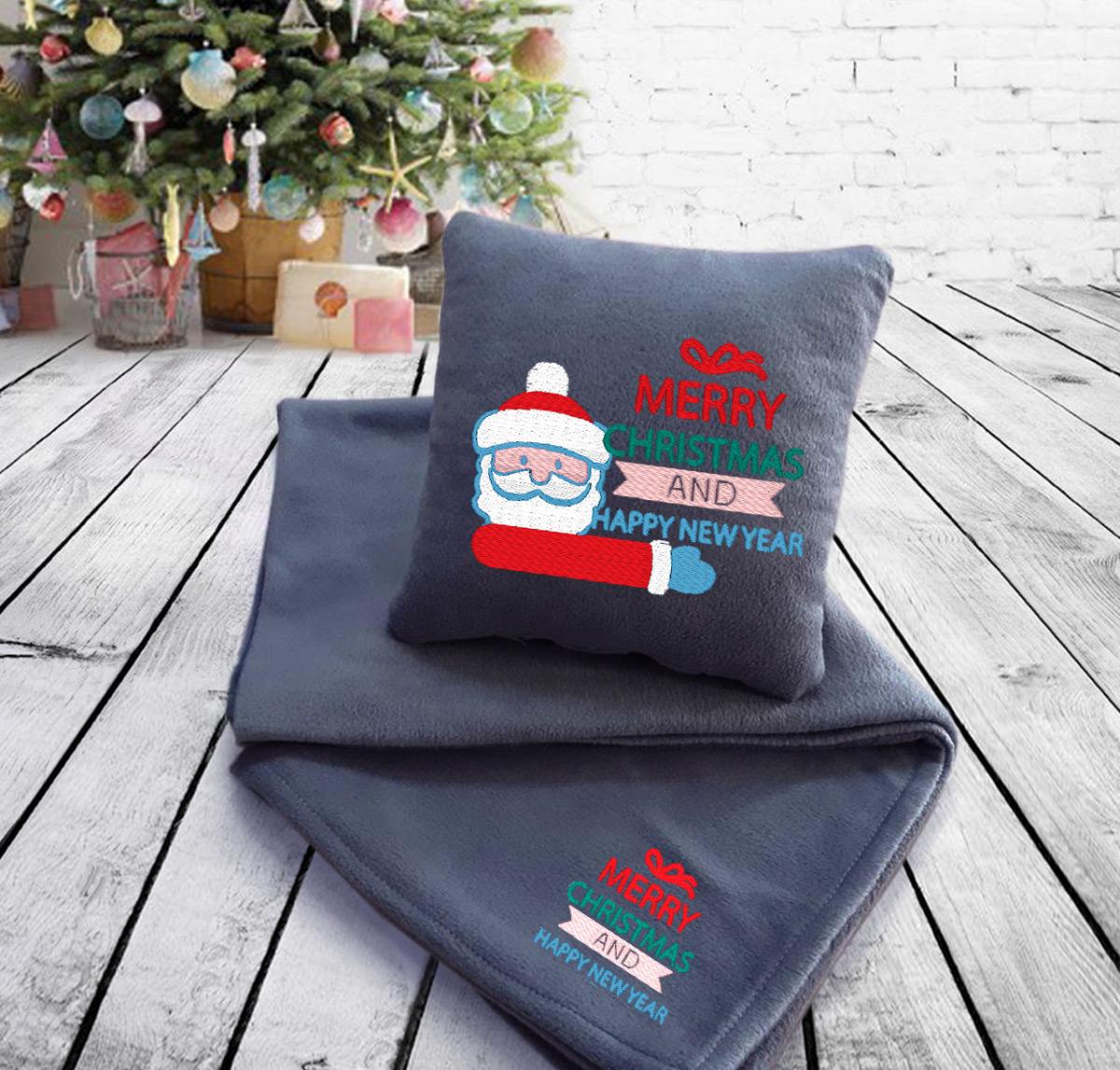Набор подушка и плед Merry Christmas and Happy New Year 14 Slivki серый