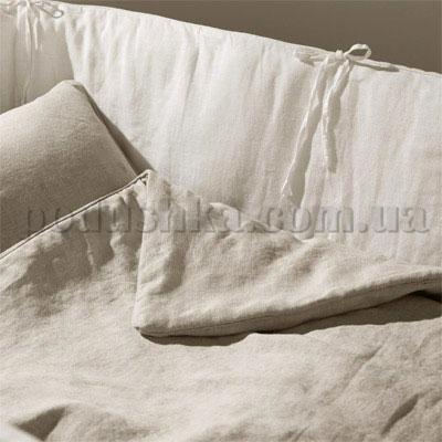 Защитный бортик для детской кроватки из небеленного льна ЗЛ-1