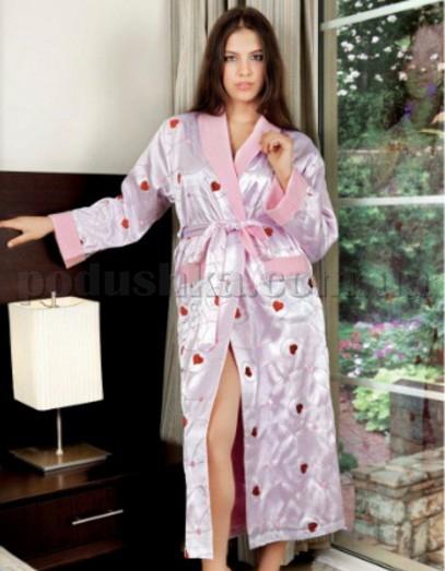 Халат женский длинный с вышивкой Nusa NS-9400