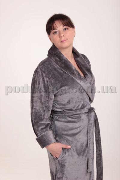 Халат велюровый JASMINE серый