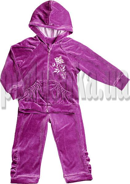 Велюровый спортивный костюм для девочек Ляля 2ТК110В с вышивкой Лилии