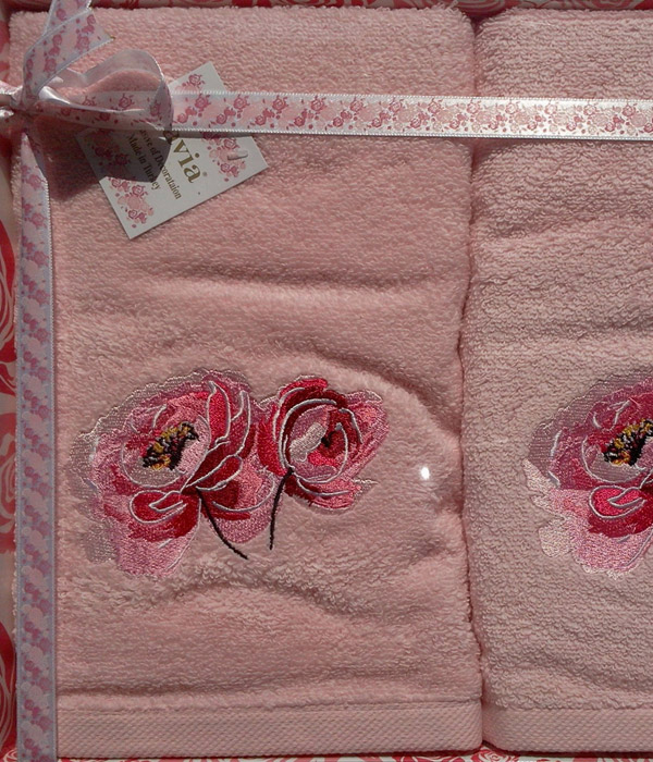 Набор махровых полотенец Pavia ROSE PINK (50х90 ) микрокоттон с вышивкой