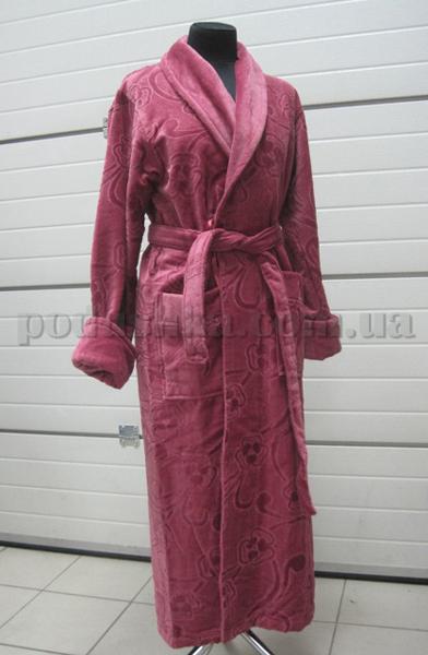 Халат женский велюровый длинный без капюшона Nusa NS-3050