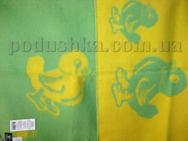 Одеяло детское Klippan Saule Уточки (желто-зеленое)