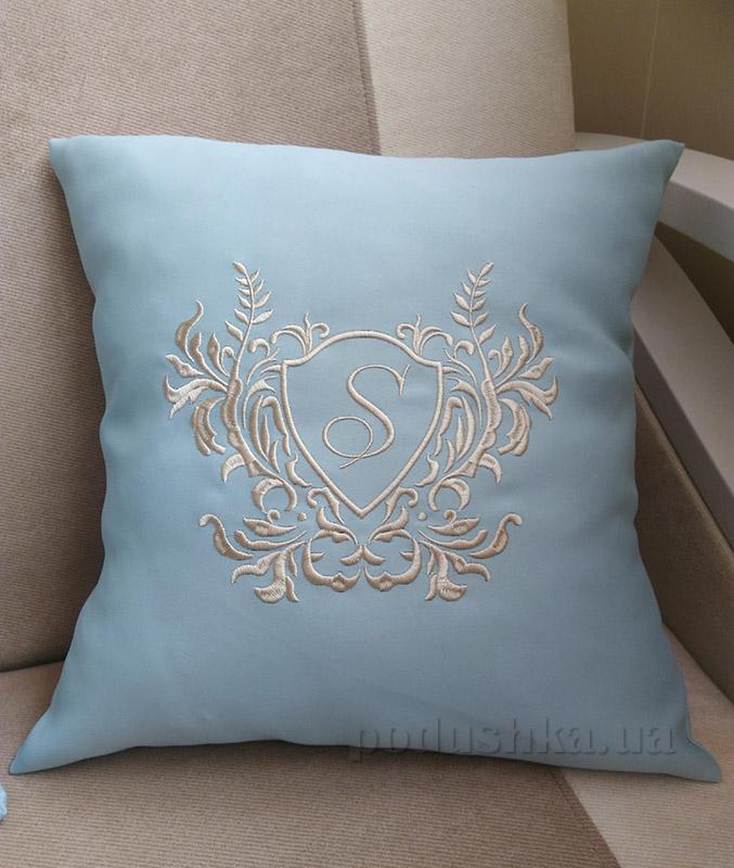 Подушка с вышивкой Украина Venzel Голубая 40х40 см подушка+наволочка (односторонняя вышивка) Украина