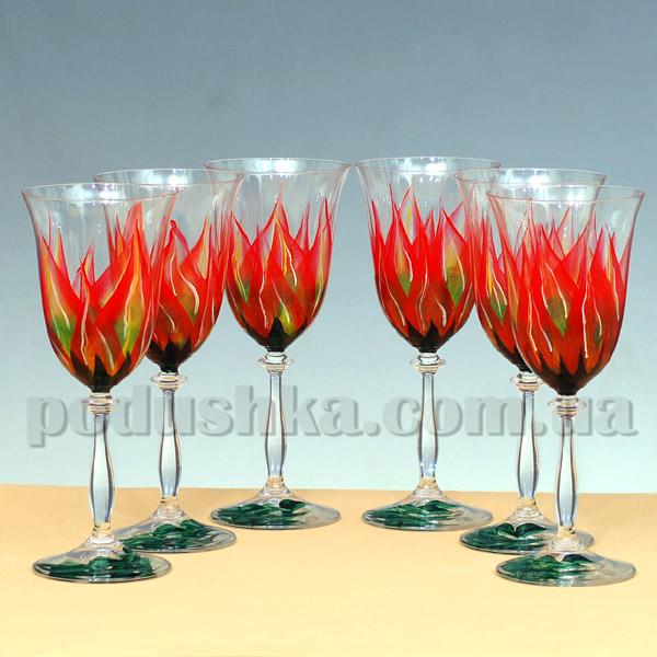Бокалы для вина Огненный цветок - ручная роспись