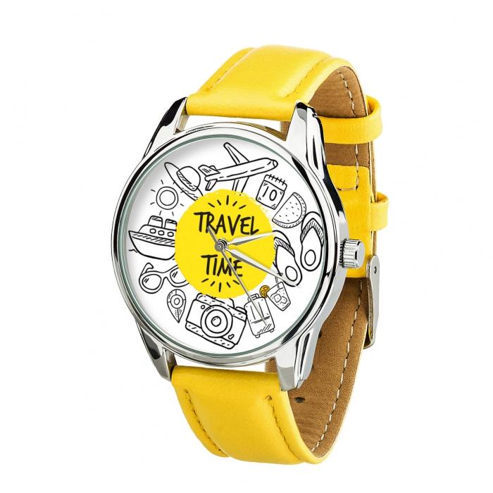 Часы ZIZ Время путешествий желтый, серебро - второй ремешок в подарок 4618368