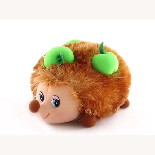 Мягкая игрушка - Ежик с яблоками музыкальный, 17 см