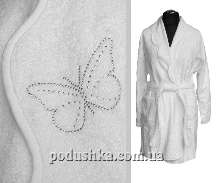 Халат белый кристалл-бабочка