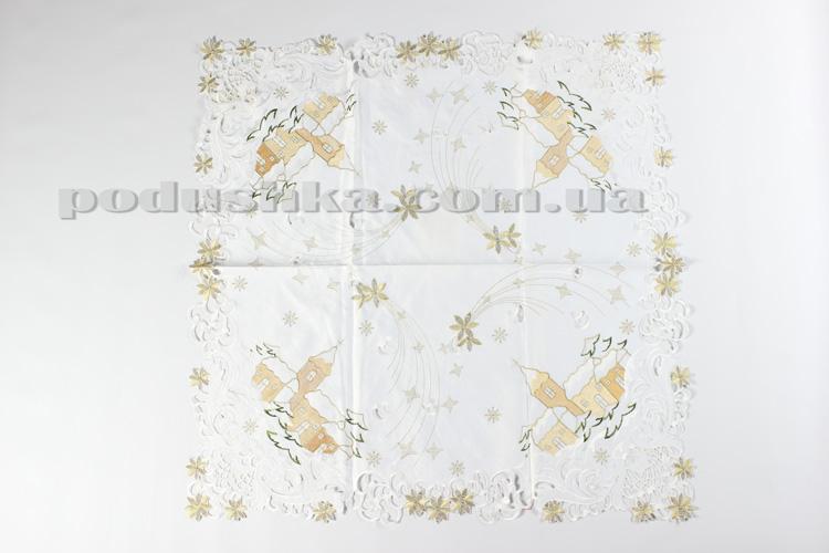 Скатерть атласная новогодняя 127032 белая