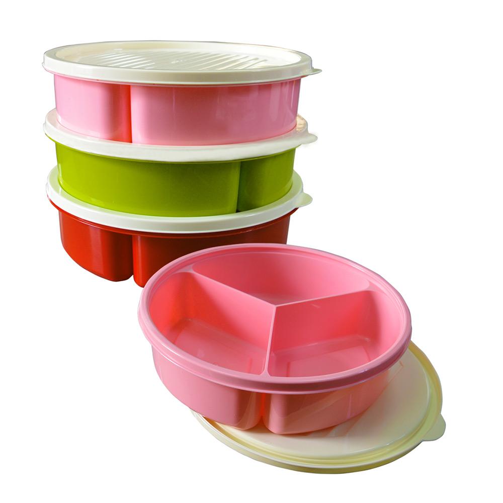 Контейнер для продуктов на 3 секции Bager 1200 мл BG-393  цвет розовый Bager