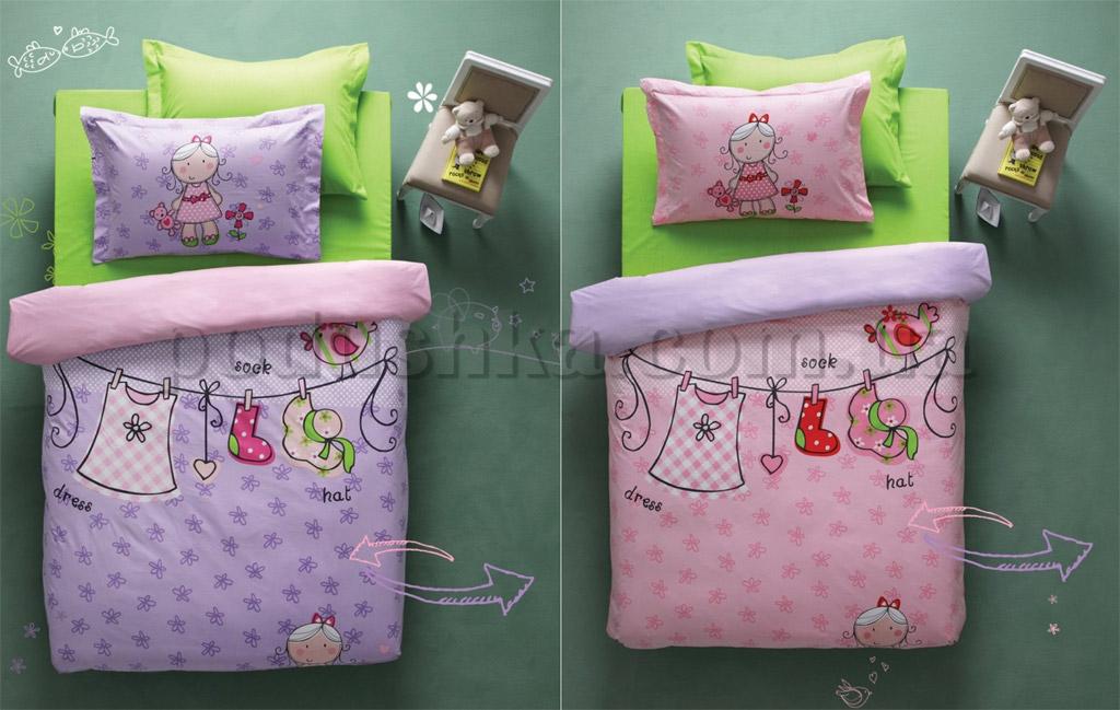 Постельное белье Karaca Molly лиловый-розовый