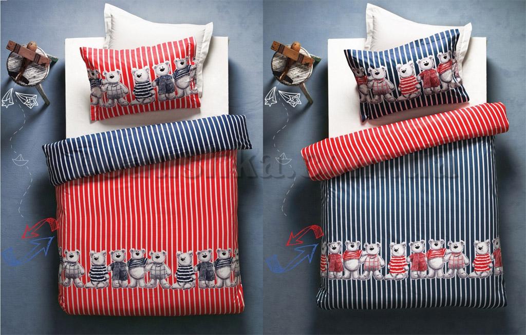 Постельное белье Karaca Teddy красный-синий