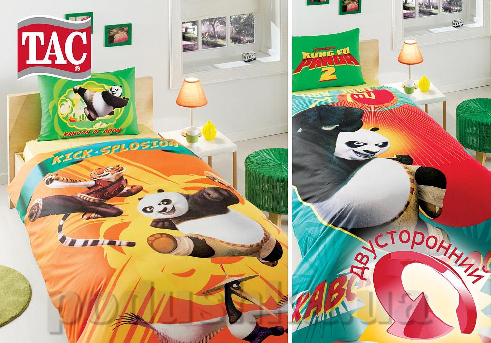 Постельное белье TAC Ranforce Kung Fu Panda Kick Splosion двухсторонний