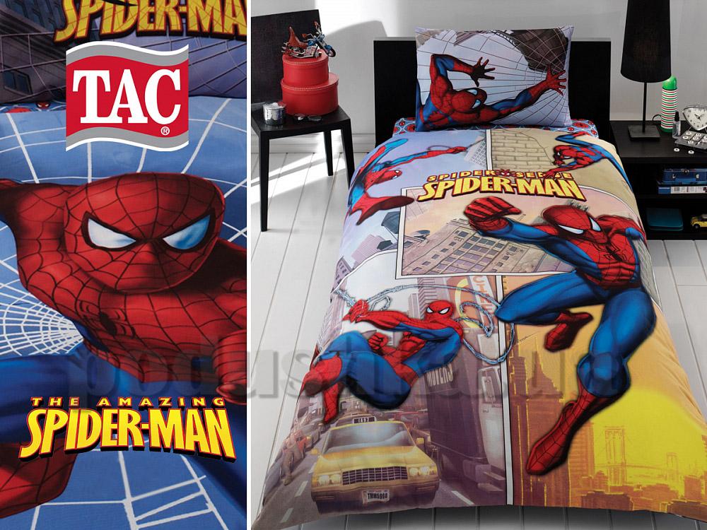 Постельное белье TAC Ranforce Spiderman Sense Dortlu двухсторонний