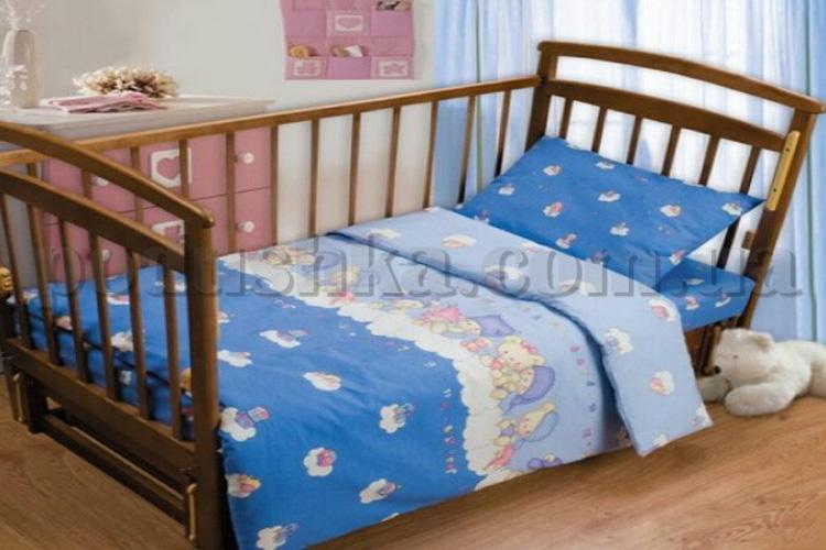 Постельное белье в кроватку Мишки на облаках