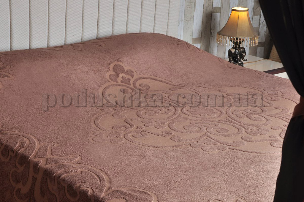 Махровая простынь-покрывало PAVIA TENDRESSE BROWN коричневая