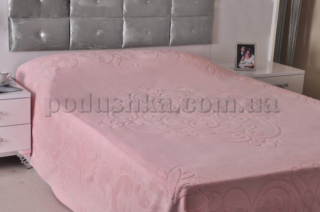 Махровая простынь-покрывало PAVIA TENDRESSE PUDRA светло-розовая