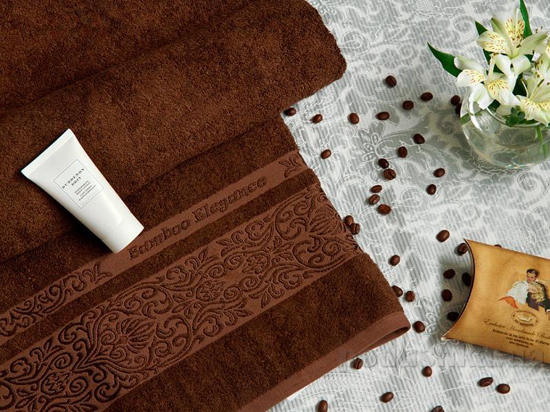 Махровое полотенце TAC Bamboo Elegance шоколадное
