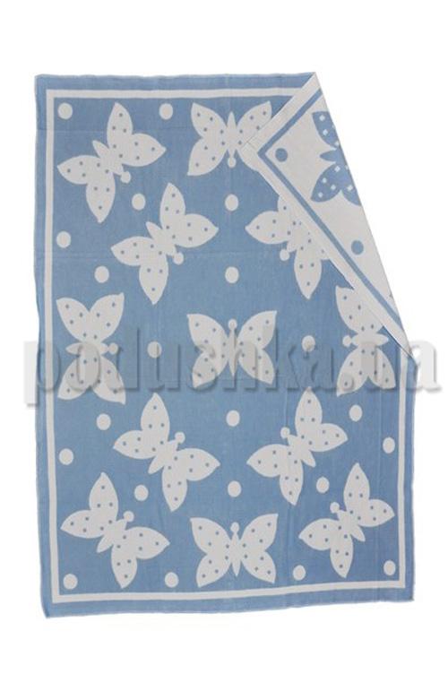 Одеяло детское WOT Бабочки голубой