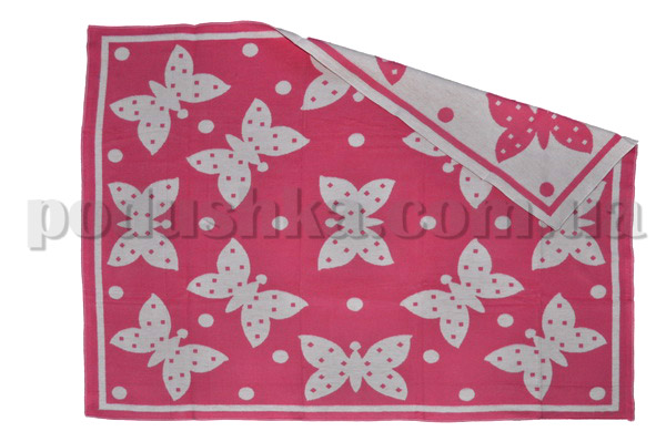 Одеяло детское WOT Бабочки розовое
