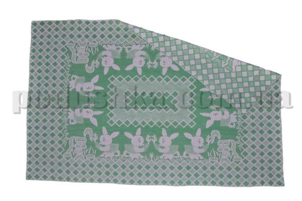 Одеяло детское WOT Зайцы зелёное