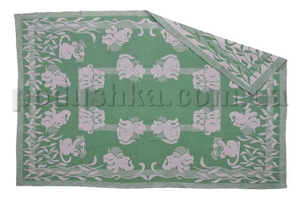 Одеяло детское WOT Зверята зеленое