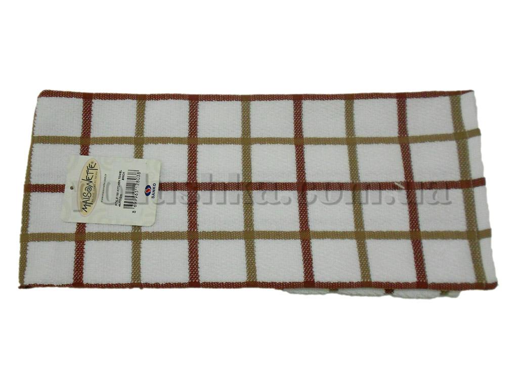 Полотенце кухонное Maisonette Kitchen Style-150 Квадраты бело-терракотовое