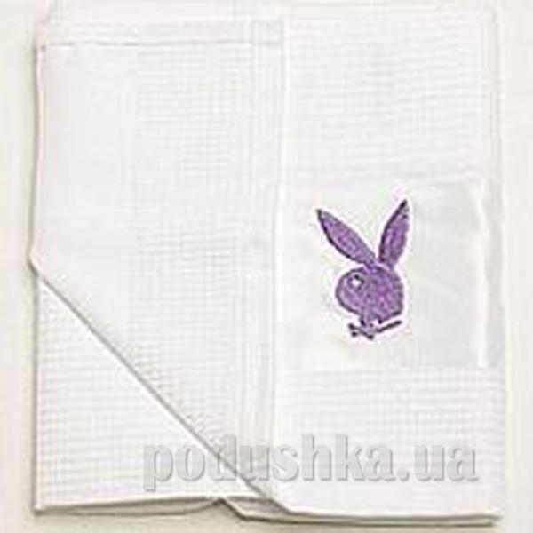 Полотенце кухонное вафельное Зайцы Плейбой фиолетовый
