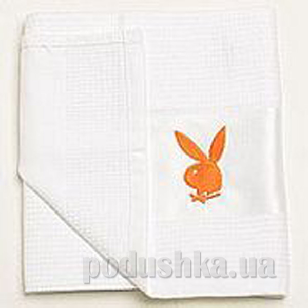 Полотенце кухонное вафельное Зайцы Плейбой оранжевый