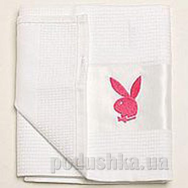 Полотенце кухонное вафельное Зайцы Плейбой розовый