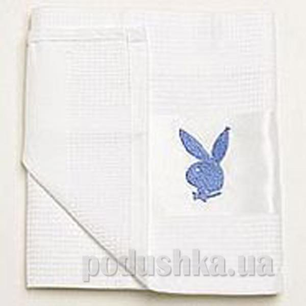 Полотенце кухонное вафельное Зайцы Плейбой синий