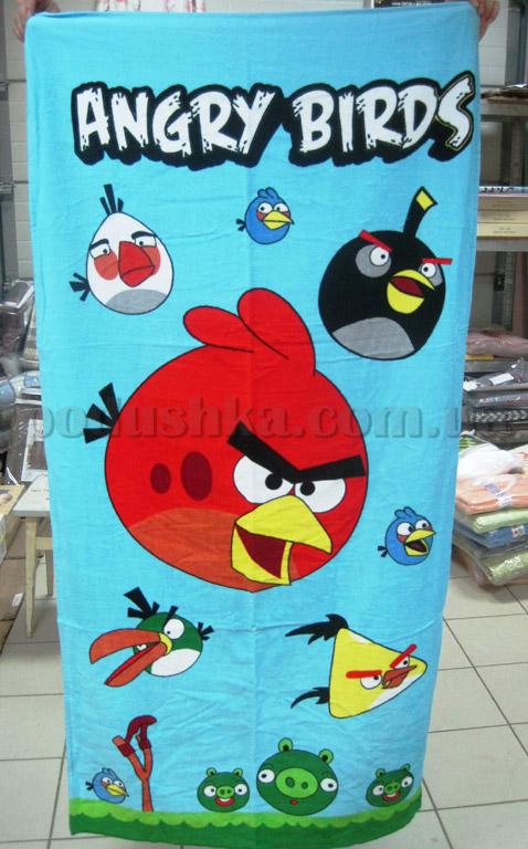 Полотенце пляжное Сердитая птица голубое