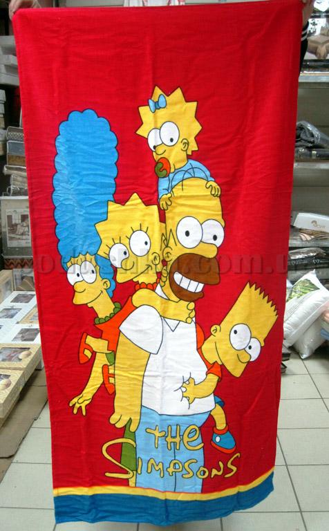 Полотенце пляжное Симпсоны красное