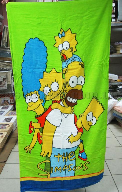 Полотенце пляжное Симпсоны зеленое