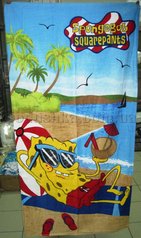 Полотенце пляжное детское Спанч Боб отдых