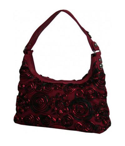 Сумка с декоративным украшением-цветами Derby 0778113 бордовая