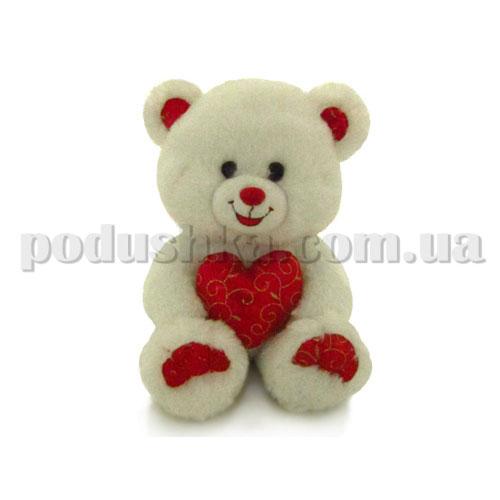 Мягкая игрушка - Медведь белый блестящий с сердцем