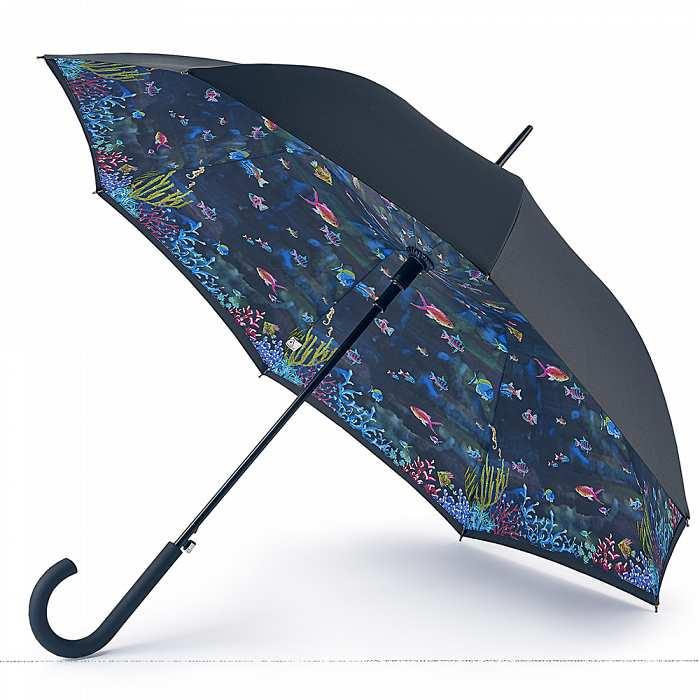 Женский зонт-трость Fulton Bloomsbury-2 L754 Under The Sea черный с синим