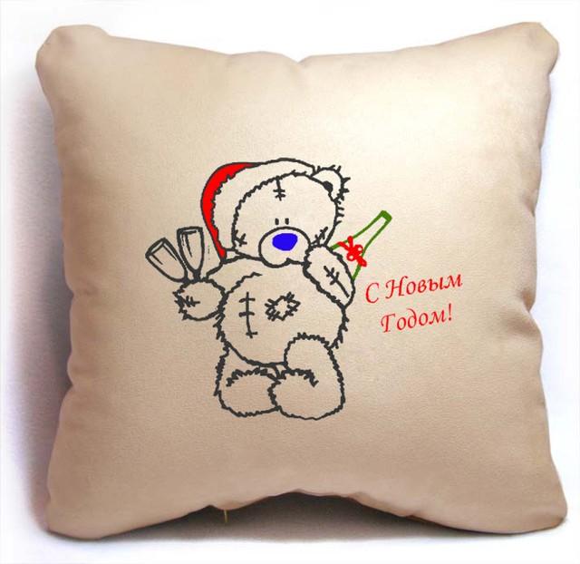 Новогодняя подушка Мишка Teddy - C Новым Годом! Slivki бежевый